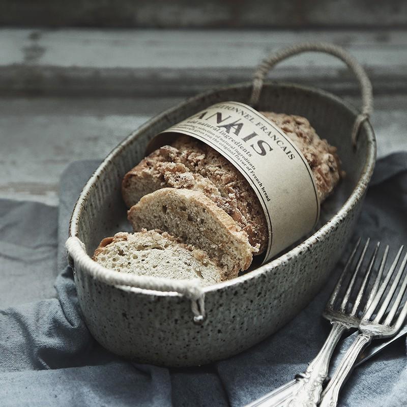 【繪市集】澤滕傢 景德鎮陶瓷創意純手工帶繩子日式粗陶菜盤子 橢圓形湯盤