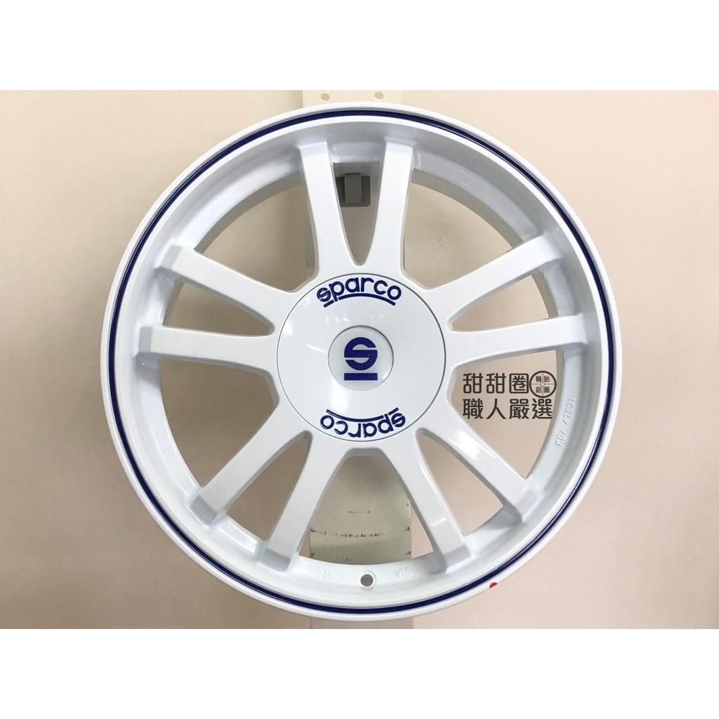 【甜甜圈】正品 SPARCO S986 17吋4H100 白色藍字鋁圈