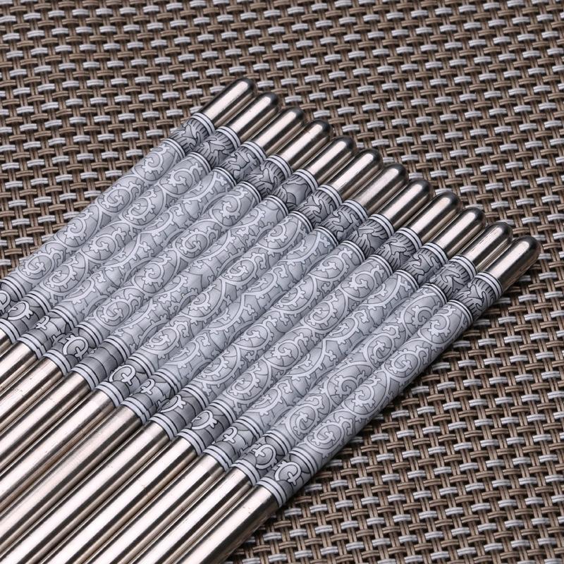 304青花瓷不銹鋼筷子餐具家用套裝圓頭筷1雙套裝