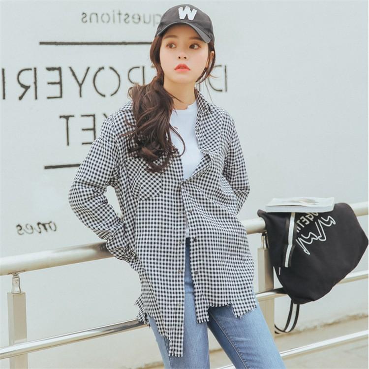 誠招代理2017春季新款韓版黑白格子不規則元素襯衫外套女裝批發潮