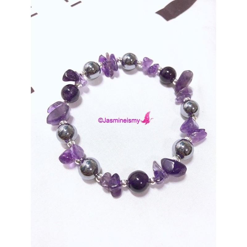 紫水晶/鈦赫茲設計款手鍊