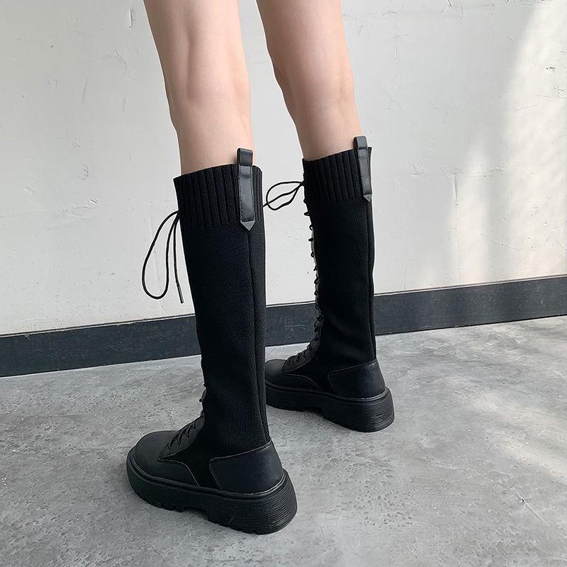 【靴子】長靴女不過膝學生2020秋冬新款潮厚底長筒靴粗腿瘦瘦彈力靴高筒靴