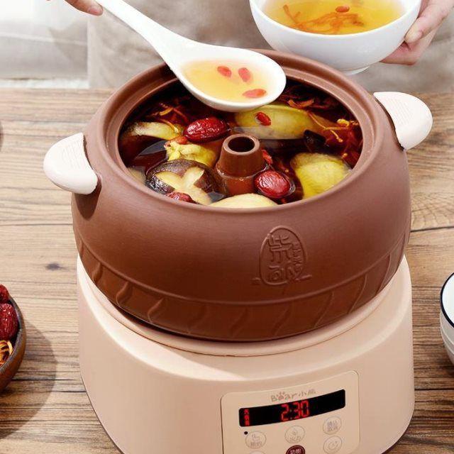 發票小熊隔水燉鍋汽鍋陶瓷燉盅煲湯紫砂家用全自動養生慢燉智能小砂鍋