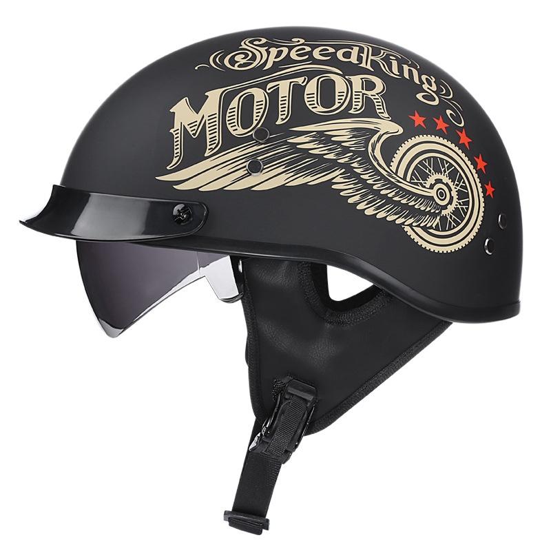 安全帽 機車帽 摩托車帽 電動車帽 帽子  VOSS哈雷復古摩托車頭盔男女輕便半盔四季太子盔哈雷瓢盔XXL號64
