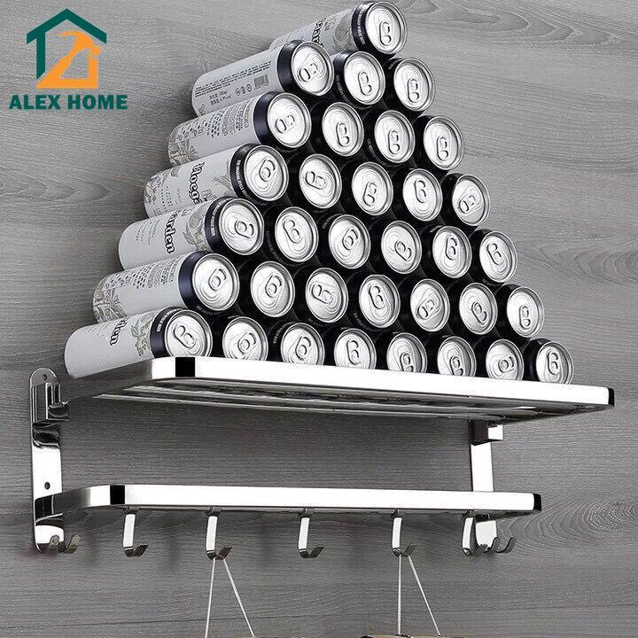 304不鏽鋼摺疊浴巾架衛生間免打孔置物架浴室活動毛巾架衛浴掛件/ALEX HOME
