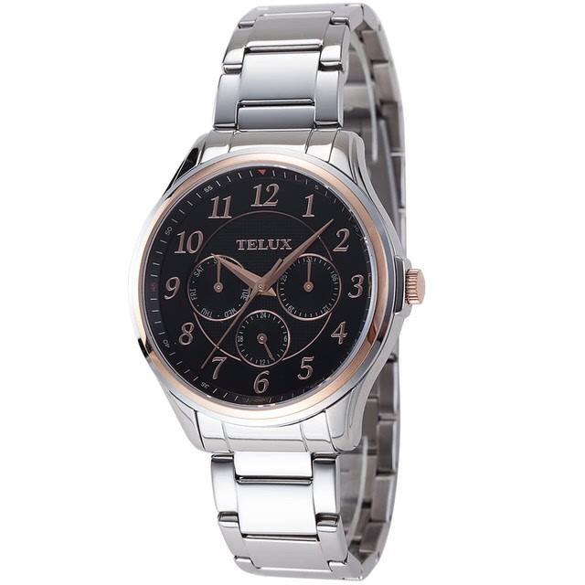 台灣品牌手錶腕錶【TELUX鐵力士】完美三眼紳士腕錶42mm台灣製造石英錶7008RG-BK25鋼帶黑面金框