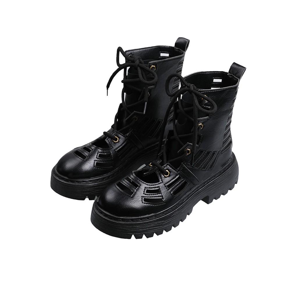馬丁靴 馬丁靴女2020夏天薄款新款涼靴百搭網紅ins潮鏤空黑色厚底中筒靴