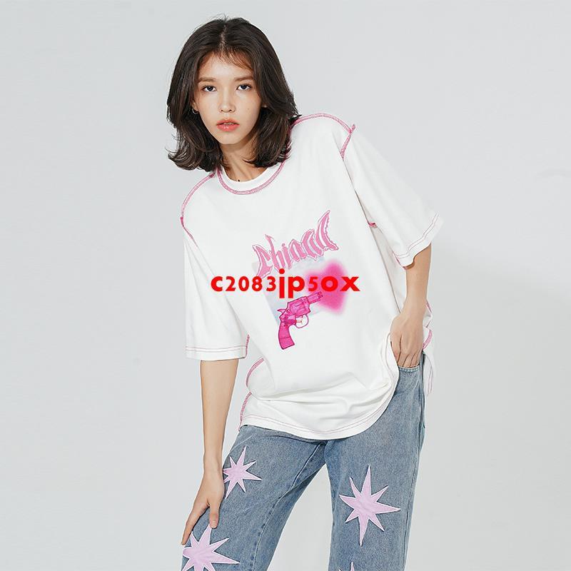 CBIANA/21SS 短袖T恤手繪手槍愛心印花寬松半袖體恤潮牌嘻哈tee
