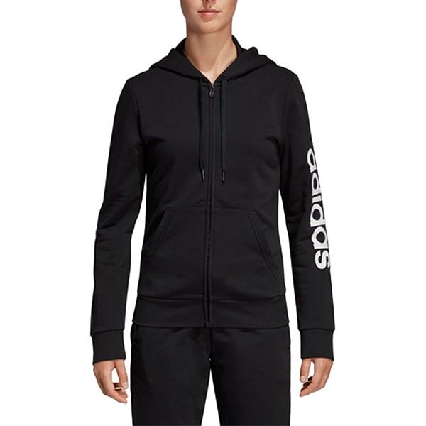 ADIDAS【DP2401】運動外套 休閒 棉質 修身版型 衣袖文字LOGO 黑色 女生