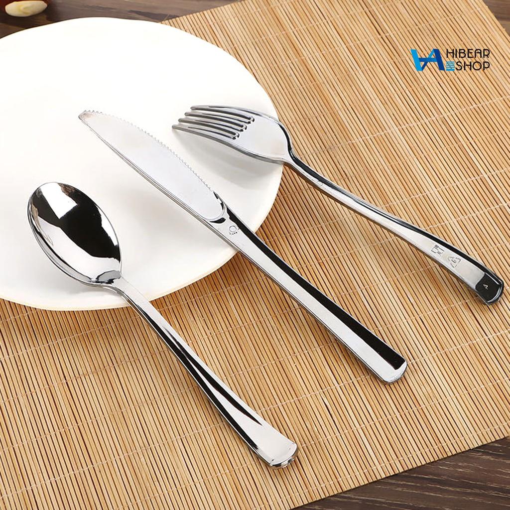 Hibearshop 48pcs 一次性仿不銹鋼彩色刀叉勺餐具