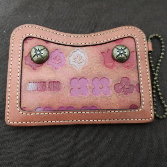 9.5成新Anna Sui復古真牛皮卡夾 悠遊卡 卡片夾 證件夾