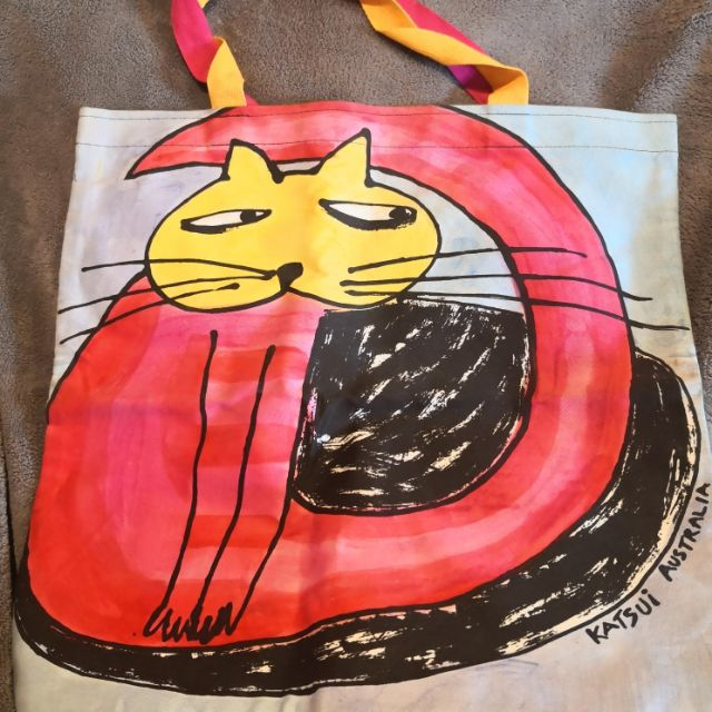 澳洲插畫家katsui 貓 純綿印花托特包