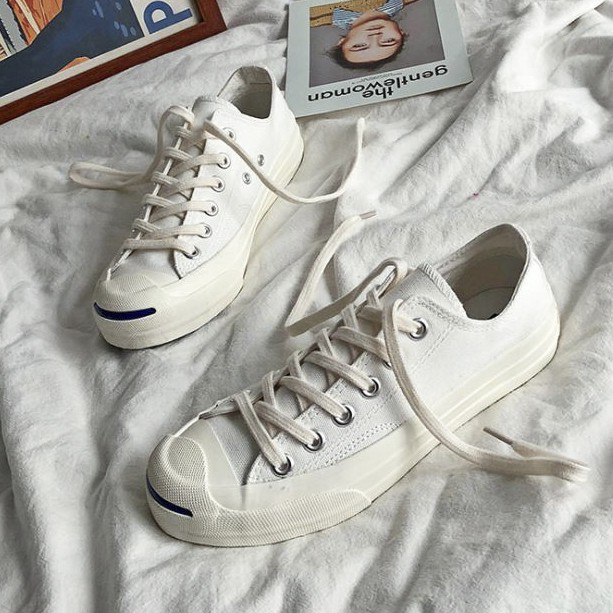 X-INGCHI 男女款白色開口笑帆布鞋-NO.X0152