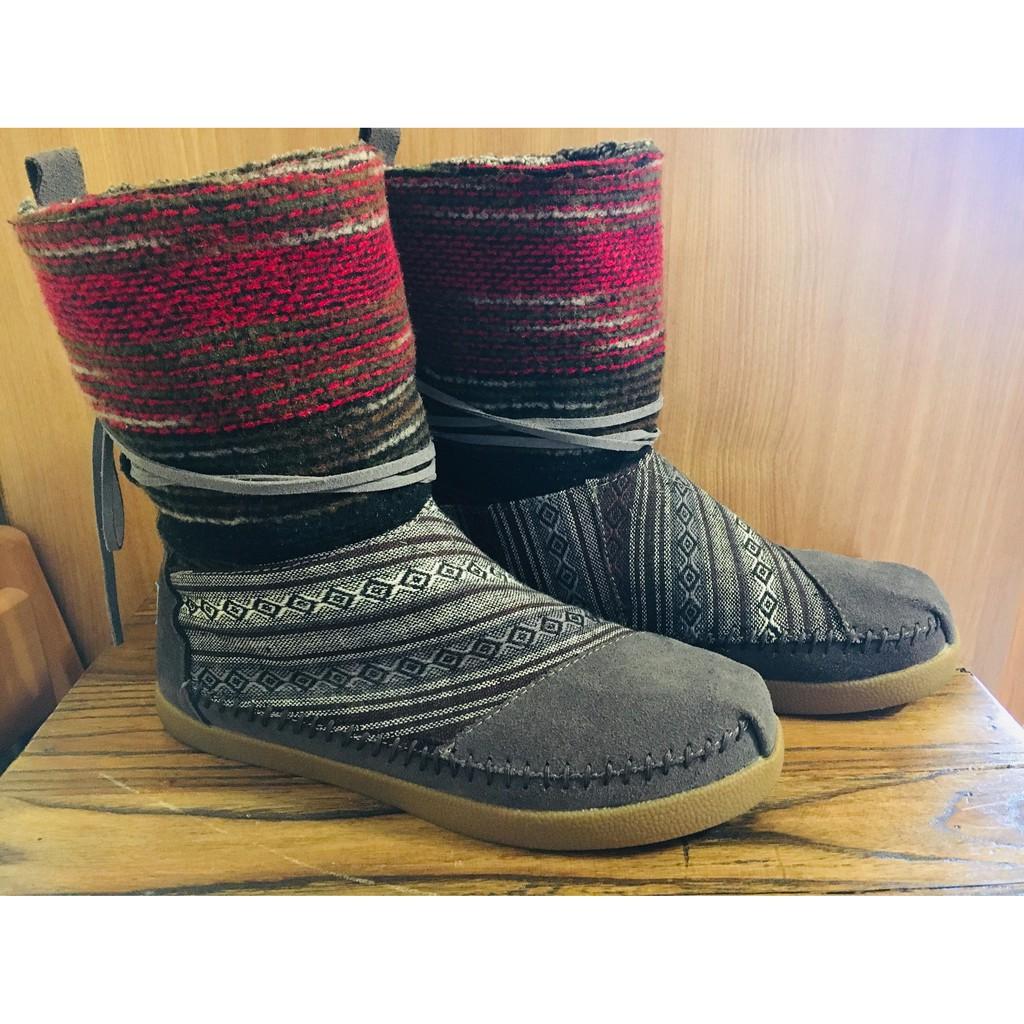 TOMS Nepal Boots W6號 中筒靴 雪靴 保暖 尼泊爾 民俗風 真皮毛裡