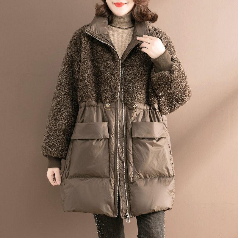 【冬季新品】棉衣女中長款冬季時尚拼接羊羔毛棉服寬松大碼保暖百搭棉襖外套女