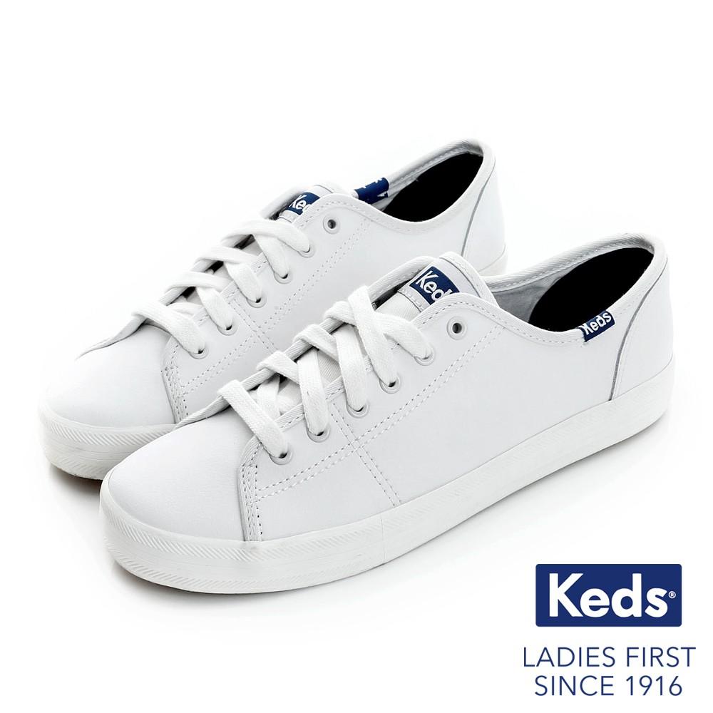 【Keds】女 / KICKSTART KICKSTART 時尚皮革綁帶休閒鞋-132222-白/藍-原價2490元