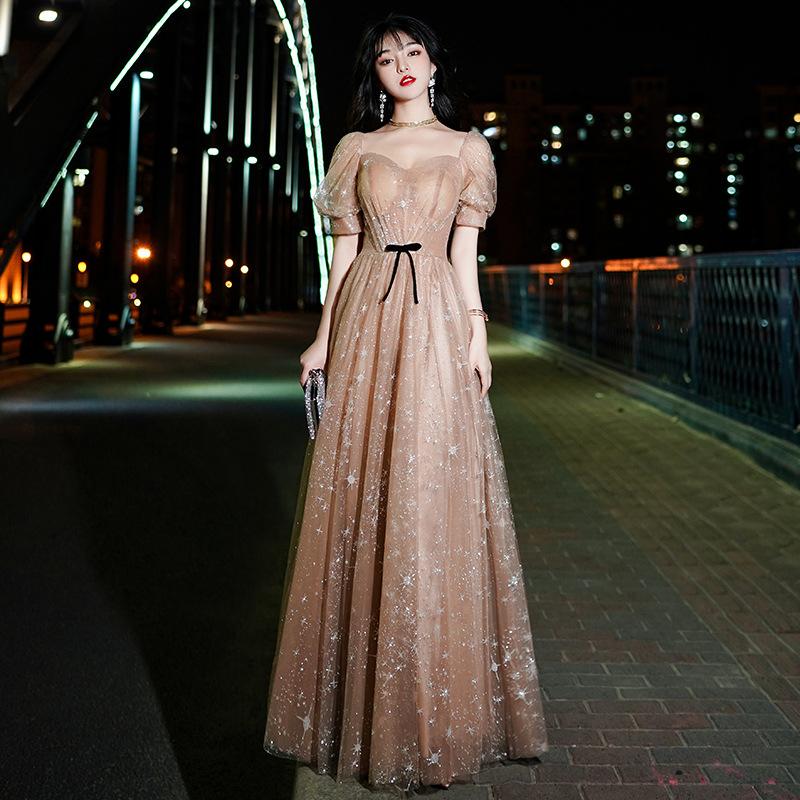 2021新款現貨 晚禮服裙女新款宴會主持人大氣氣質優雅仙氣夢幻顯瘦長款