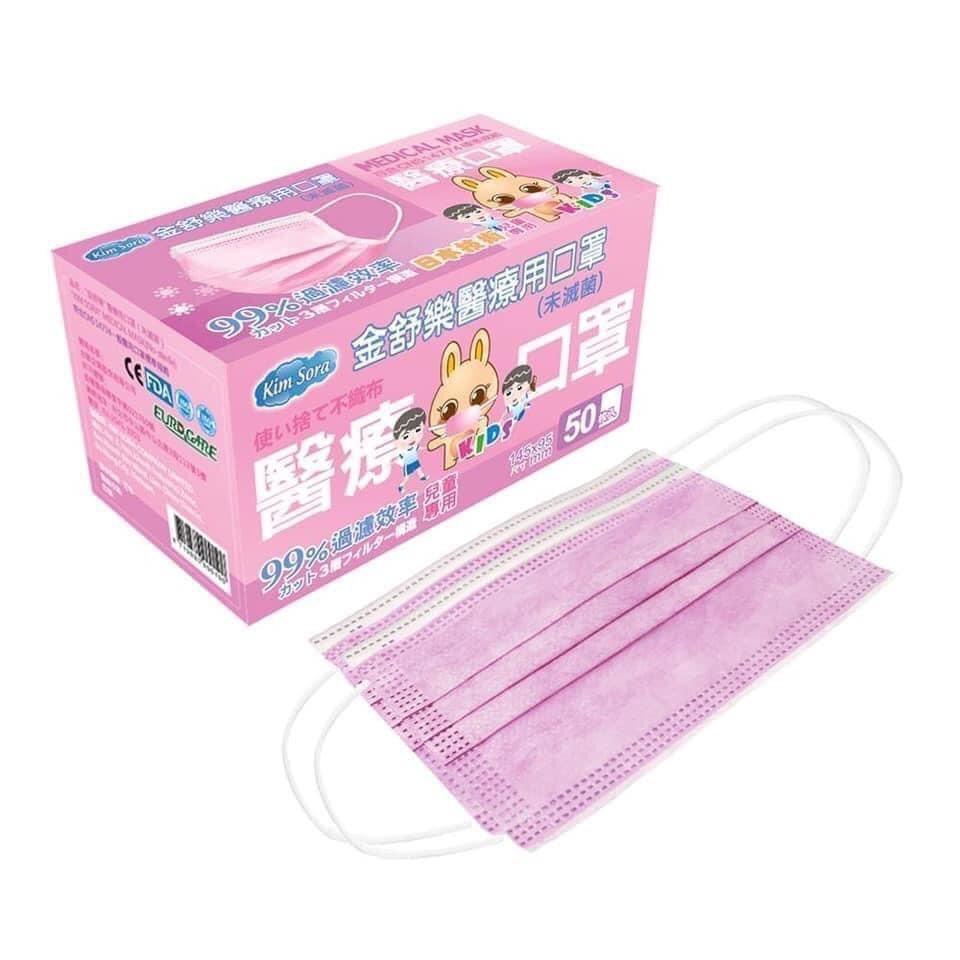 現貨供應中★金舒樂醫療口罩50入/盒【兒童】藍色/粉色★BNN立體