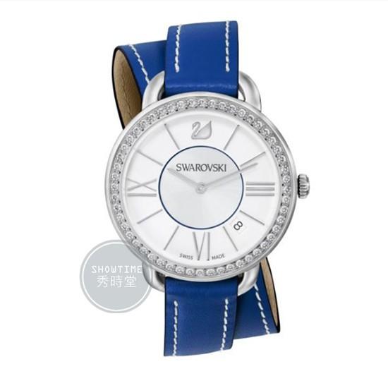 [ 秀時堂 ] SWAROVSKI 施華洛世奇 雙環水鑽框貝殼面盤腕錶-藍皮帶/白面銀 5095944