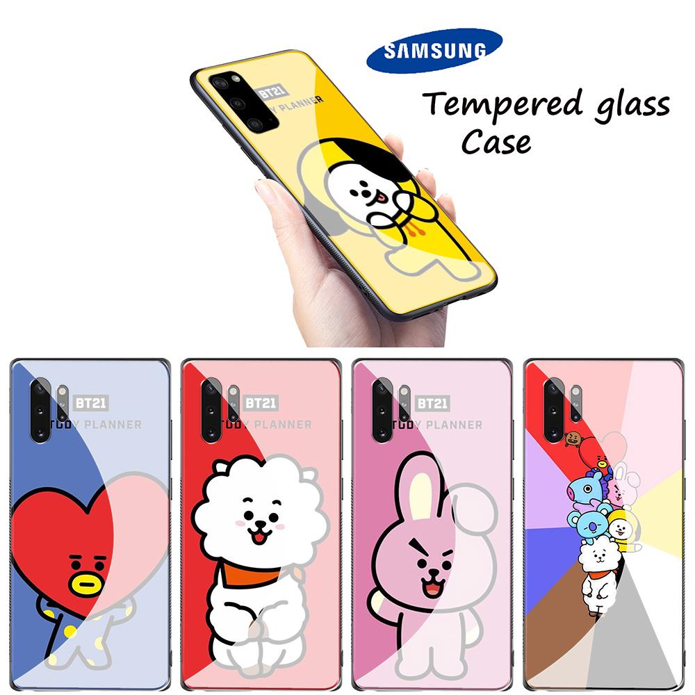 Ablu31 Bts Boys Cartoon Case 軟鋼化玻璃殼三星 Galaxy A70 A60 A50 A40
