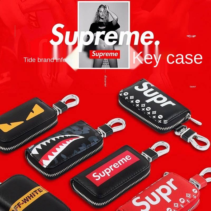 【現貨】潮牌Supreme汽車鑰匙包新款 鑰匙包 鑰匙收納 汽車鑰匙包 鑰匙套  鑰匙皮套 mazda 鑰匙 車鑰匙套