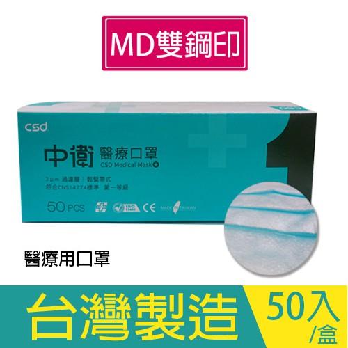 【現貨】中衛口罩醫療用口罩(未滅菌) 50入/盒 MD雙鋼印