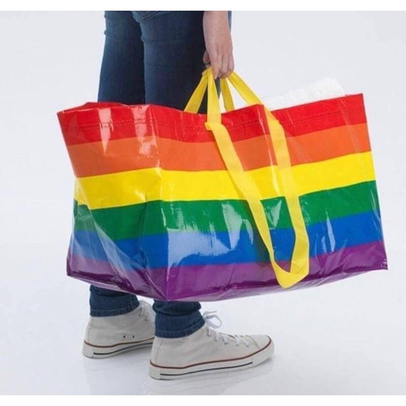 澄驛-澳洲限量IKEA六色彩虹購物袋-C