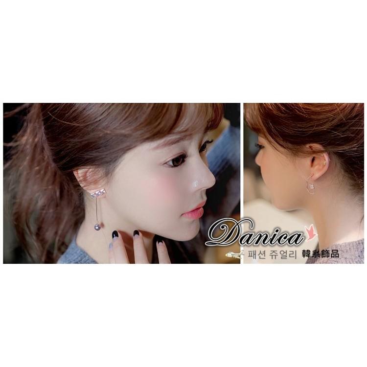 耳環 現貨 韓國 氣質 甜美 珍珠 弧形 寶石 不對稱 後掛 長耳環 K92037 Danica 韓系飾品 韓國連線
