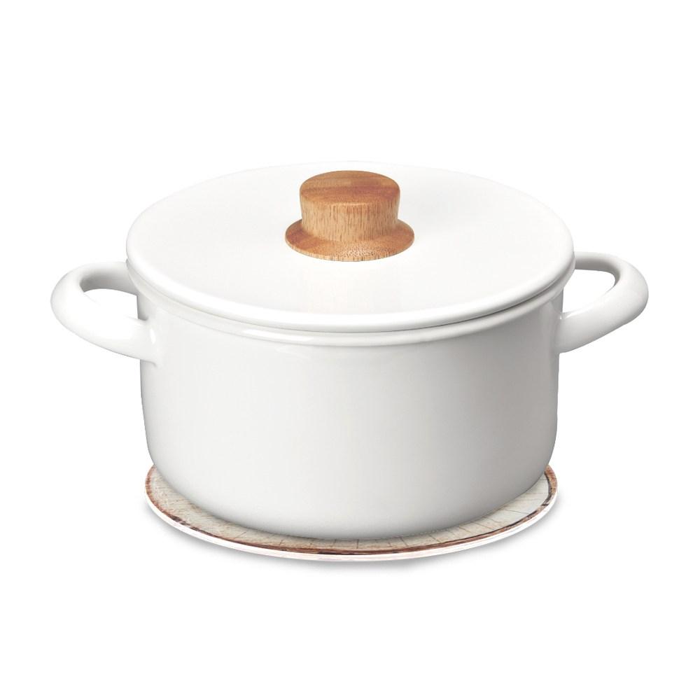 琺瑯雙耳湯鍋20cm+自然風陶瓷鍋墊-木紋