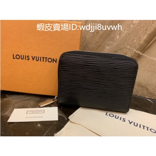 Mina二手精品 98新 正品 Louis Vuitton LV M60152 黑色 EPI 水波紋 拉鍊 零錢包 現貨 新北市