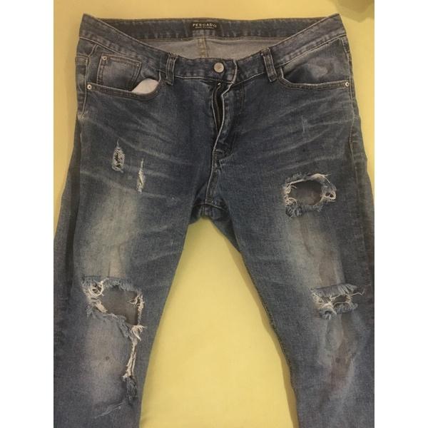 韓國帶回 品牌 PESCADO 97%棉3%PU 手工刷破 牛仔褲 男款 XL 34腰 褲長99