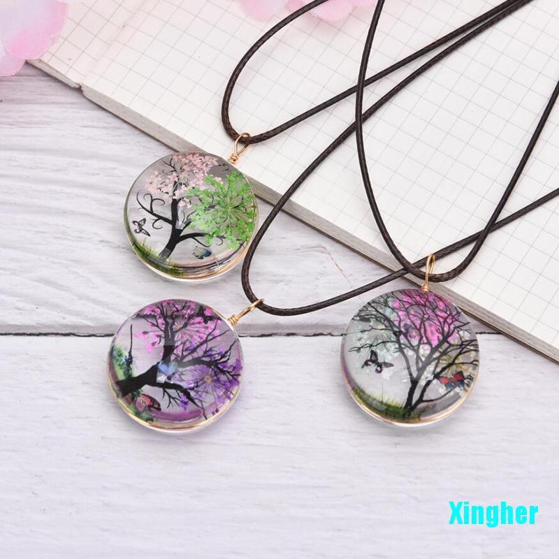 [星河]乾花圓形玻璃透明水晶球吊墜繩項鍊飾品
