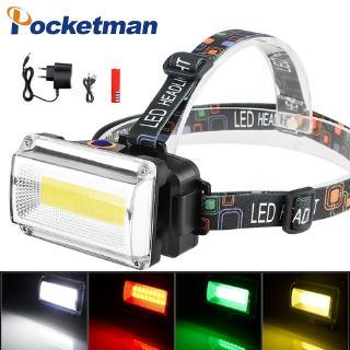 10000流明COB LED頭燈直流可充電頭燈手電筒3模18650電池防水狩獵釣魚燈