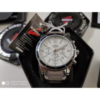 Casio卡西歐手錶 三眼計時手錶 男款休閒手錶 鋼帶腕錶 桃園市