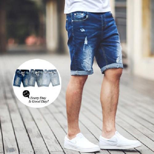 彈性褲頭文字抽繩小抓破牛仔短褲 (LE-PA25) NB0147J 淺藍 深藍 廠商直送 現貨