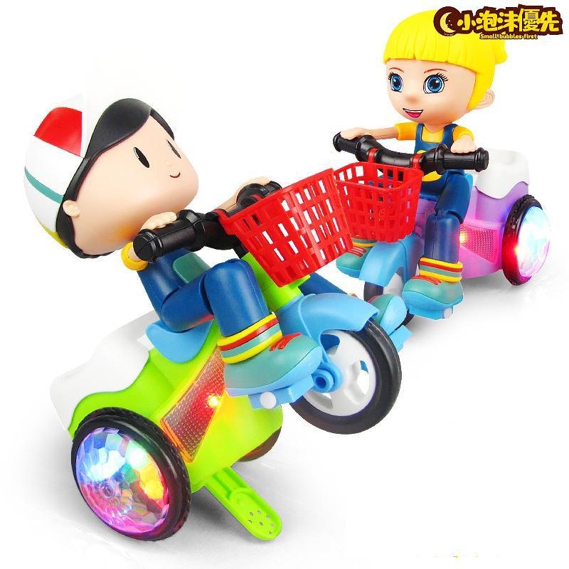 熱銷 兒童特技三輪車 吊車頭360度旋轉音樂燈光電動玩具qaq「小泡沫優先」