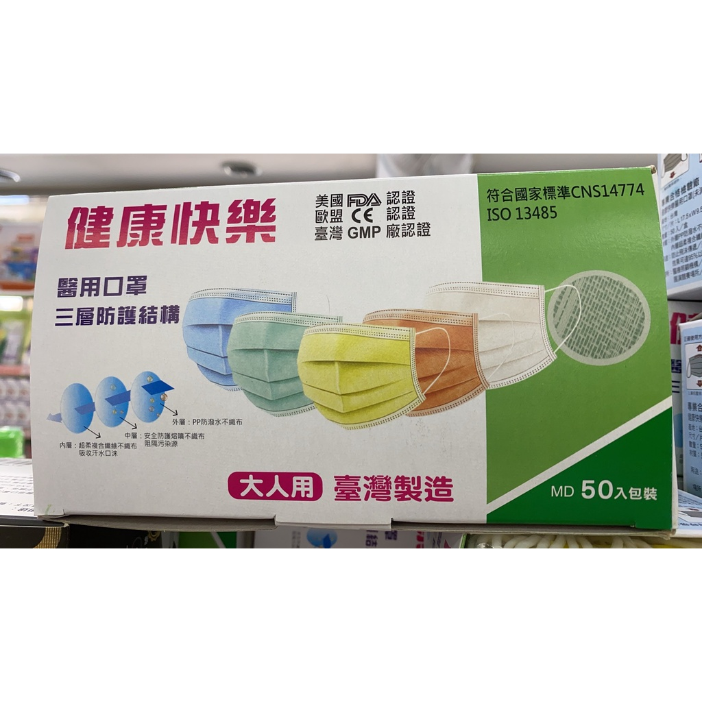 健康快樂醫療口罩 50入 黃/藍/紫 台灣製 雙鋼印