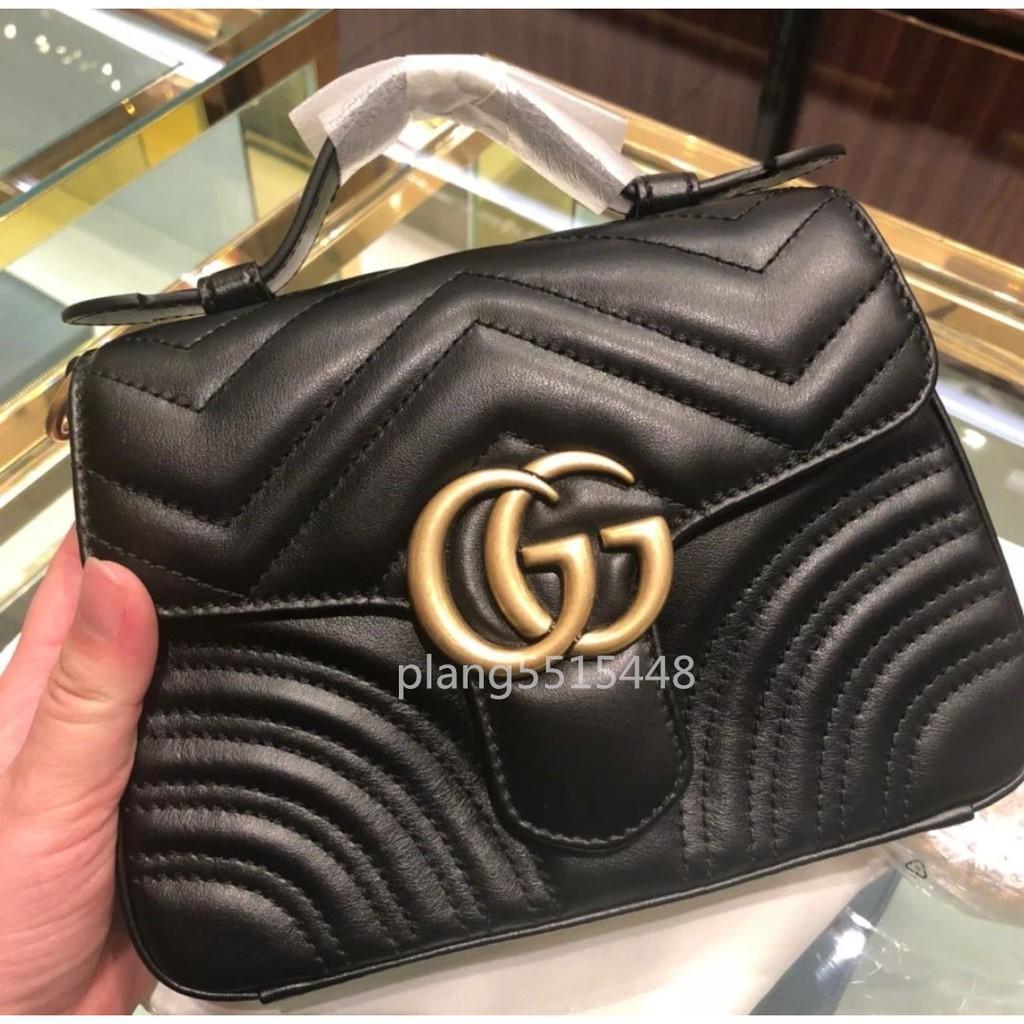 【專櫃正品】全新 GUCCI 547260 GG Marmont mini top handle bag 黑色 現貨