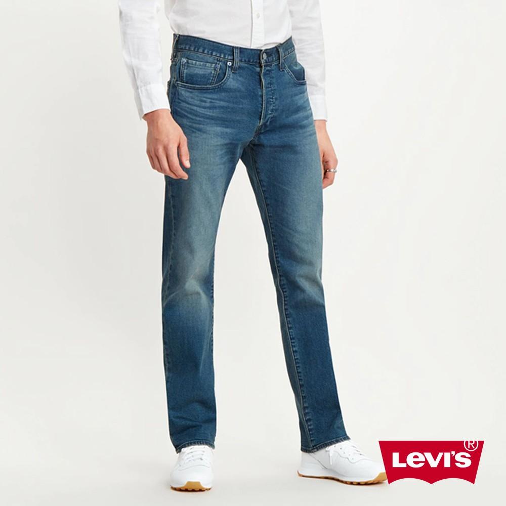 Levis 501排釦直筒牛仔褲 / 中藍刷白 / 彈性布料 男款-熱銷單品 00501-2999