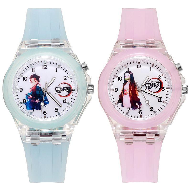 【現貨】鬼滅之刃七彩夜光閃光手錶 手錶 發光手錶 手錶 學生手錶 兒童手錶 鬼滅之刃手錶手表 手錶 錶