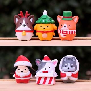可愛小狗狗柴犬柯基手辦盲盒配件公仔  聖誕節裝扮 桌面蛋糕裝飾品小擺件