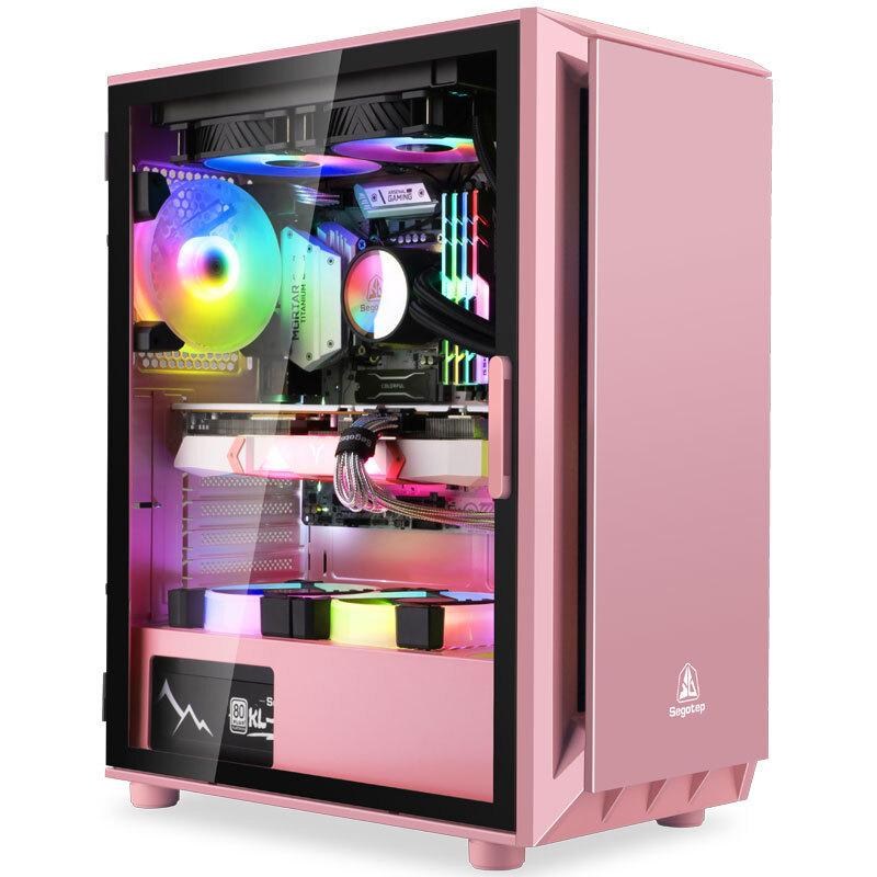 鑫穀直男1桌上型電腦電腦主機殼玻璃全側透ATX版型黑色白色粉色