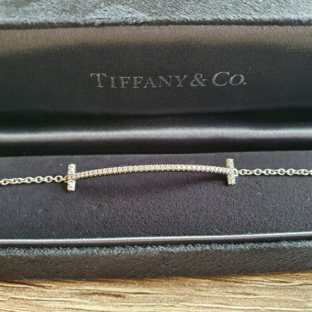 蒂芬妮Tiffany專櫃T-Smile-18K白金微笑鑽石手鍊及發票正本(可分24期)
