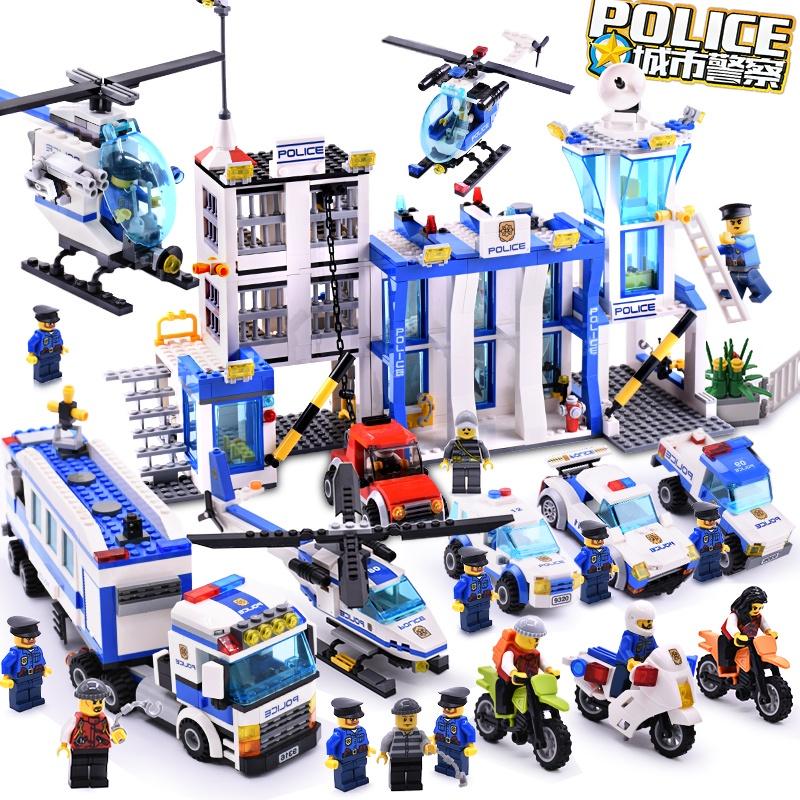 古迪積木匹配樂高兒童益智拼裝城市系列警察局飛機玩具男孩子警車 OOFO
