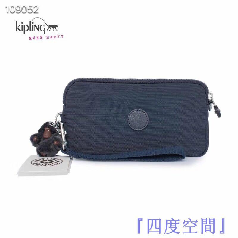 『四度空間』Kipling 猴子包 亞麻深藍 K70109 拉鍊手掛包 零錢包 長夾 手拿包 鈔票/零錢/卡包 輕便多夾
