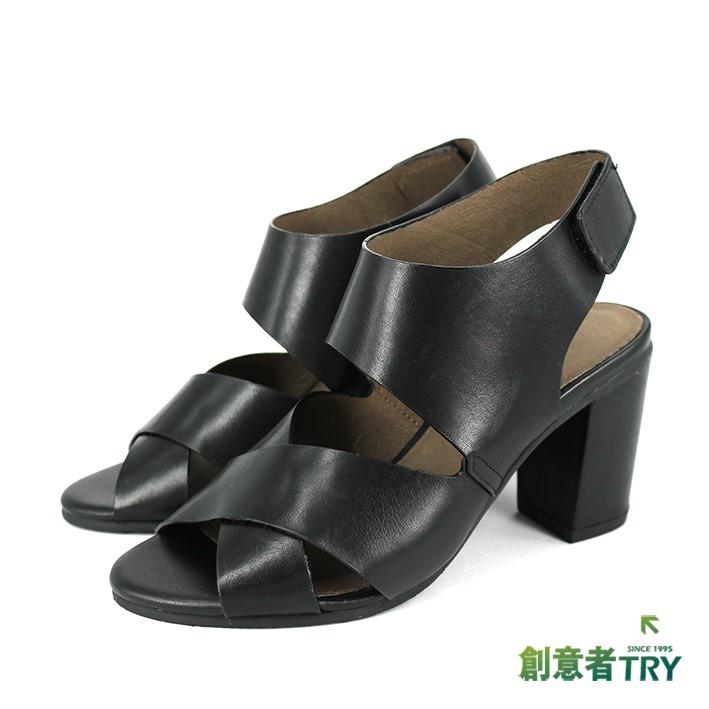 【創意者鞋坊】真皮交叉素面粗跟涼鞋-女- 339801099 - 黑色 原價3980元