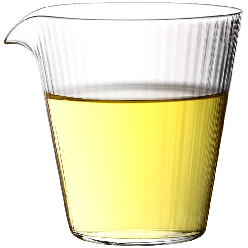 九土 JOTO手工條紋耐熱玻璃公道杯日式手工耐熱玻璃公道杯加厚玻璃公杯茶杯錘紋分茶器茶具配件