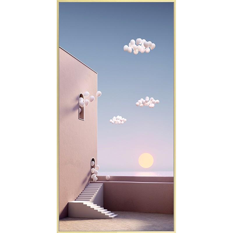 【全館免運】初日 北歐ins風裝飾畫客廳落地掛畫玄關過道壁畫豎版壁畫少女粉色