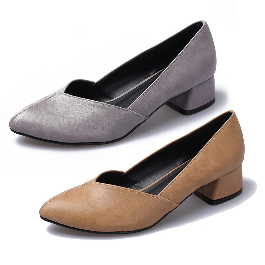 【白鳥麗子】粗跟鞋 MIT優雅仿舊感皮革拼接低跟尖頭包鞋