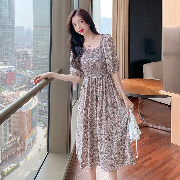 洋裝 連身裙 碎花裙S-XL法式複古方領泡泡袖雪紡溫柔碎花短袖連衣裙NE442.8832愛尚依人